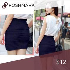 Wrapped Pencil Skirt Women's  Sexy striped above knee club wear party mini skirt                      ( navy blue) NEW Skirts Mini