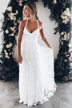 Classy Prom Dresses, White v neck lace long prom dress, white evening dress wedding dress charming bridal dresses Prom Dresses Long Lace Beach Wedding Dress, Backless Wedding, Dress Lace, Ivory Wedding, Dress Prom, Party Dress, Rustic Wedding, Hawaiian Wedding Dresses, Beach Wedding Attire