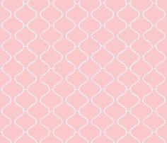 Moorish Tile Trellis Pink and White fabric by katie_schlomann on Spoonflower - custom fabric