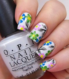 flower nail art on OPI My Boyfriend Scales Walls