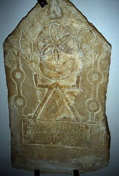 Phoenician funeral stele - Moon-Goddess Tanit with sun & moon