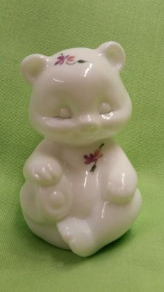 Fenton Violets in the Snow Bear Hand painted White Milk Glass Artist Signed