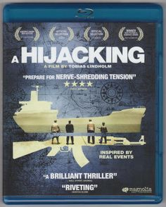 """A Hijacking (aka Kapringen) 2012, Blu-ray Disc, Magnolia Home Entertainment 10607, Region A, Rated R, 103 mins, 1.78:1 Widescreen (1080P High Def), Audio: 5.1 DTS-HD Master Audio, Subtitles: English, Spanish & French, Special Features: 5 """"Behind The Scenes"""" featurettes, Trailer, BD Live link, and previews. Directed by Tobias Lindholm. Viewed once. $3"""