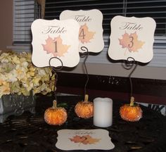Fall Table Numbers - Set of 25 by wreathartist on Etsy https://www.etsy.com/listing/161400228/fall-table-numbers-set-of-25
