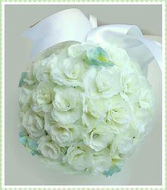 White rosebud pomander, white wedding,white bridal fowers, bridesmaid pomander, pew/aisle decoration, wedding decor, wedding flowers by DunnCrafting on Etsy