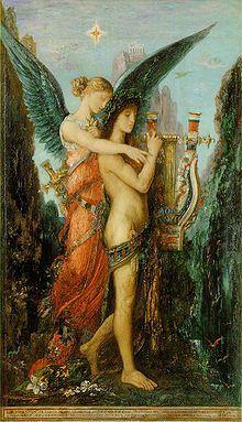 """Melpomene (""""côro"""") foi uma das nove musas da mitologia grega, as filhas de Zeus e Mnemósine, filha de Oceano e Tétis.[1][2]  Era a musa da tragédia, apesar de seu canto alegre. É representada com uma máscara trágica e usando botas de couro (coturnos), tradicionalmente usadas por atores trágicos.  Costuma usar uma faca ou bastão em uma mão e uma máscara na outra. Na cabeça é apresentada com uma coroa de cipreste."""