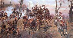 """Napoleonic paintings by Wojciech Kossak.    """"Polish horse artillery in enemies fire, battle of Raszyn 1809"""""""