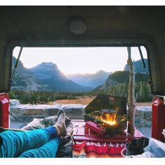 @elbunt coffee, leg warmers, comfy bed and a view to behold. Wow. #VanCrush ~ For more van life pics check out https://www.instagram.com/van.crush/