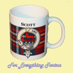 Scott Tartan Clan Crest Ceramic Mug Clan Badge Scott by JMB7339 - $29.00
