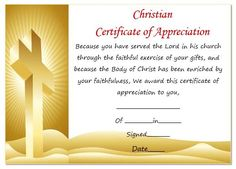 Certificate of appreciation religious certificate of christian certificate of appreciation template yelopaper Choice Image
