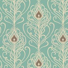 paisley peacock wallpaper: Greta Jade from Villa Nova. I LOVE this, it is so art deco yet fun and colorful but not too colorful. Duck Egg Blue Wallpaper, Blue Roses Wallpaper, Peacock Wallpaper, Paisley Wallpaper, Cream Wallpaper, Fabric Wallpaper, Pattern Wallpaper, Wallpaper Direct, New Wallpaper