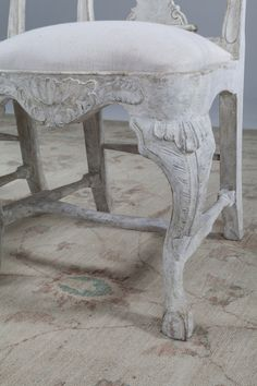 A set of ten Swedish Rococo style painted oak dining chairs distressed pale grey paintwork, upholstered in calico, available in a range of fabrics and finishes Painted Dining Chairs, Oak Dining Chairs, Rococo Style, Bespoke, Fabrics, Range, Grey, Painting, Taylormade