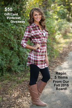 Follow our Fall 2015 Board and REPIN 5 items to be entered to win a $50 gift card. Winner will be picked 9/29. www.thepinklilyboutique.com