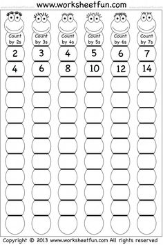 Skip Counting by and 7 – Worksheet / FREE Printable Worksheets – Worksheetfun Kids Math Worksheets, Free Printable Worksheets, Math Activities, Letter Worksheets, Counting Worksheet, First Grade Math Worksheets, Free Printables, Teaching Multiplication, Teaching Math