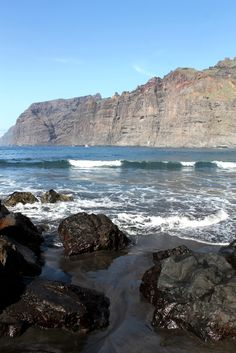 Los Gigantes, black sand Tenerife Canary Islands
