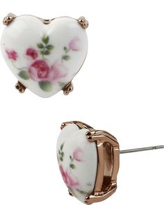 VINTAGE BOW FLORAL HEART STUD WHITE accessories jewelry earrings fashion