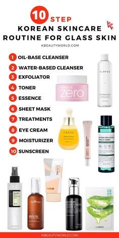 The 10 Step Korean Skin Care Routine from K Beauty World - Acne Treatment Skin Care Routine For 20s, Skin Routine, 10 Step Korean Skin Care, Oil Based Cleanser, Face Cleanser, Korean Skincare Routine, Nighttime Skincare Routine, The Ordinary Skincare Routine, Skin Tips
