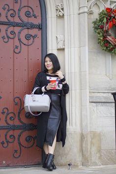 Petite street style black duster+ cat  prints sweater +black faux leather pencil skirt+ leopard fur heels+ Tignanello bag
