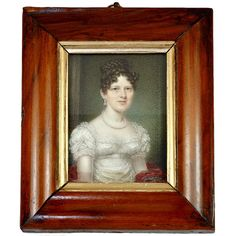 Antique French Empire Portrait Miniature, a Lady of Napoleon Era. France or England  1780-1810, Napoleonic Era