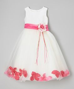 This Kid's Dream | Ivory & Fuchsia Floral A-Line Dress - Infant, Toddler & Girls by Kid's Dream is perfect! #zulilyfinds