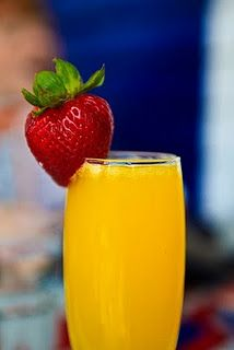 Christmas morning: Mimosas with strawberries