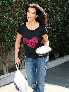 Who made Kim Kardashian's black hope shirt?  Shirt  – DKNY Jeans for HSN T-shirt for St. Jude's Children's Hospital