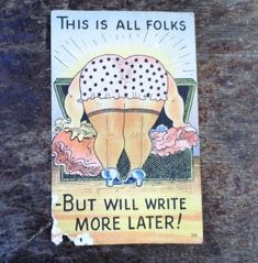 1940's Linen Type Old Postcard- Humorous- Unsent - No Writing - Woman Leaning Over Trunk- Funny- Comical- Vintage Comedy -LOL- Good Humor