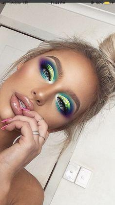 Beautiful Blue, Purple, Green, Light Green, and Turquoise Eyeshadow - Makeup Tips Makeup Eye Looks, Makeup For Brown Eyes, Cute Makeup, Glam Makeup, Gorgeous Makeup, Pretty Makeup, Eyeshadow Makeup, Eyeliner, Hair Makeup