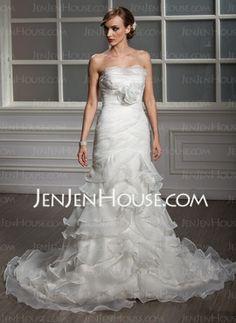 Mermaid Strapless Court Train Organza Satin Wedding Dresses With Ruffle (002011995) - JenJenHouse.com