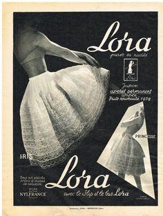 Publicite Adverstising 1959 Lora Lingerie Jupon Princesse | eBay