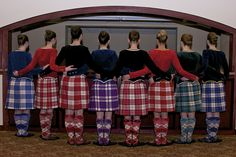 Colorful kilts on the Alma Kiltie Dancers, a highland dance troupe.