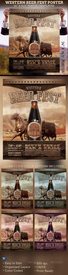 Western Beer Fest Poster Template — Photoshop PSD #happy hour #birthday • Available here → https://graphicriver.net/item/western-beer-fest-poster-template/5791725?ref=pxcr
