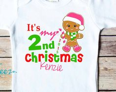 My Second Christmas Shirt Gingerbread Boy Girl Baby Bodysuit Personalized