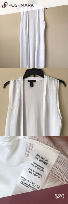 "Full length Cardigan duster Creamy white full length duster, I'm 5' 4"" and it reaches below my calf. Similar to LuLaRoe Joy. Excellent condition, I bought it on posh and never wore it. Very slight wear from hanging in closet, pilling. White House Black Market Tops"