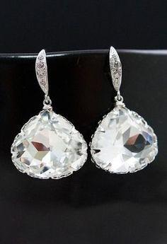 Swarovski Crystal Triangle drop Bridal Earrings