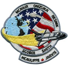 NASA Space Shuttle Challenger Mission Patch - 4 Inch Collector Size: A School Teacher was one of the 7 crew members. Space Shuttle destroyed 1 minutes and 13 seconds after liftoff Challenger Crew, Challenger Space, Space Shuttle Challenger, Space Projects, Space Crafts, Christa Mcauliffe, Space Patch, Nasa Patch, Space Program