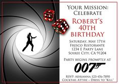 CASINO ROYALE INVITATION ~ for Birthday or Bachelor Party. Printable James Bond -type invite.