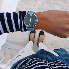 blue black and white details. our black campus with blue canvas strap | kapten-son.com