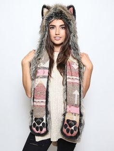 Direwolf Italy Collectors Edition faux fur animal inspired hood. Unisex (one size fits most).