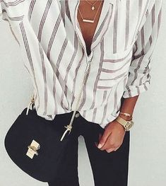 stripes. Chloe Drew bag. black skinny jeans.