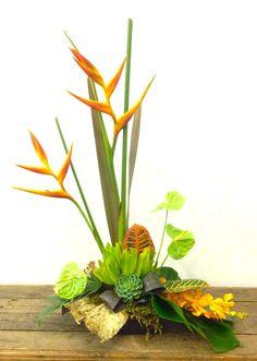 formal linear flower arrangements tropical