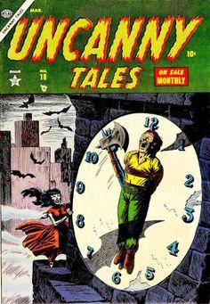 Uncanny Tales #18 (Mar '54) cover by Russ Heath. #comics #Atlas  #horror