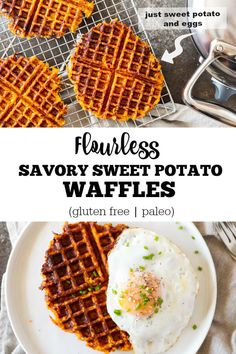 A savory twist to breakfast waffles. A crispy savory sweet potato waffle that is the perfect side for breakfast, lunch, or dinner. Just veggies and eggs. No flour. Use it instead of bread. Savory Waffles, Sweet Potato Waffles, Breakfast Waffles, Whole 30 Breakfast, Savory Breakfast, Healthy Breakfast Recipes, Healthy Recipes, Paleo Sweet Potato, Breakfast Plate