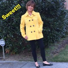 "Beautiful Pea Coat You will love this coat!!!  It's a good medium weight and fully lined. Accent belt in back and large pleat. Rounded collar with gathers and also gathers on shoulders. Measures 25"" from shoulder to hem. This is a Jrs. Large. Pink Envelope Jackets & Coats Pea Coats"