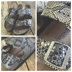 NWOT Python Print birks w/ soft footbed Silver & black python print leather Birkenstocks. I'm absolutely in love with these. These were listed as a size 9 , but that is not the case, they are a size 8/39 . I must reposh, and sell as is,so that I can start looking for the size 9. I was so looking forward to these this summer. You will love them !! No box . I cannot model. They do not fit me. Birkenstock Shoes Sandals