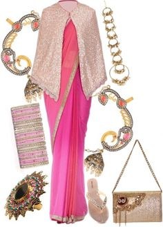 Pink shaded saree with cape is styled with golden maang tika, jhumka drop pink earrings, bangles, multi color ring, beige and golden clutch and sandals.
