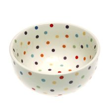 """These dishes are spot on! And eclectic mix of shapes with polka dots all over. Pepper these pieces in with other patterns to add instant fun! Dimensions: 5-3/4""""(14.6cm)W x 2-3/4(7cm)""""H Capacity: 22oz(624g) Materials: High-fired ceramic Dishwasher and microwave safe Stackable Fishs Eddy Exclusive"""