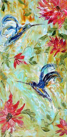 Original impasto painting Hummingbird Flowers OIL palette knife modern impressionism fine art impasto by Karen Tarlton. $145.00, via Etsy.