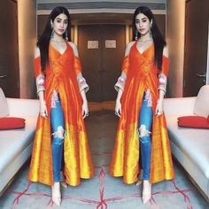 The Burst of a Bright Fresh Colour . worn with jeans makes it all and on the very Churidar, Anarkali, Lehenga, Patiala, Salwar Kameez, Indian Attire, Indian Ethnic Wear, Kurta Designs, Blouse Designs