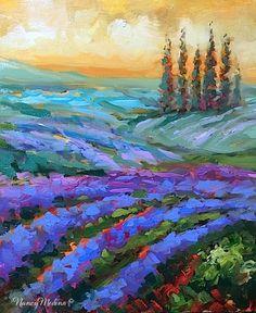 "Daily Paintworks - ""Cerulean Dreams Lavender Fields - Paintings by Nancy Medina"" - Original Fine Art for Sale - © Nancy Medina"